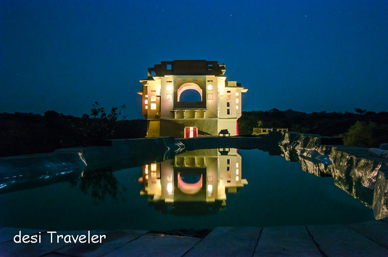 Reflection of Lakshman Sagar Zanana Mahal in pool in night
