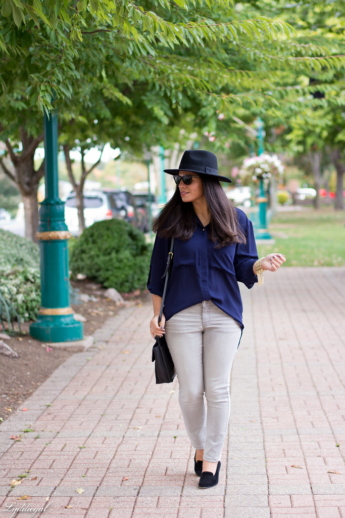 grey denim, navy blouse, wool fedora.jpg