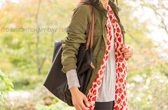 15345440878green military jacket, gray tee, poppy printed scarf