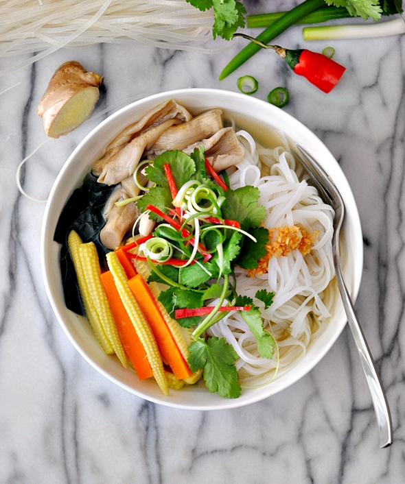Under The Weather Vegetables & Mushroom Noodle Soup Recipe (Asian Style)