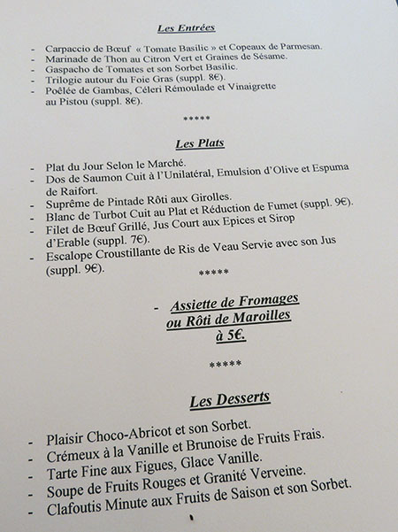 menu grand saint benoît