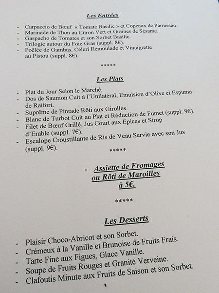 menu grand saint benoît