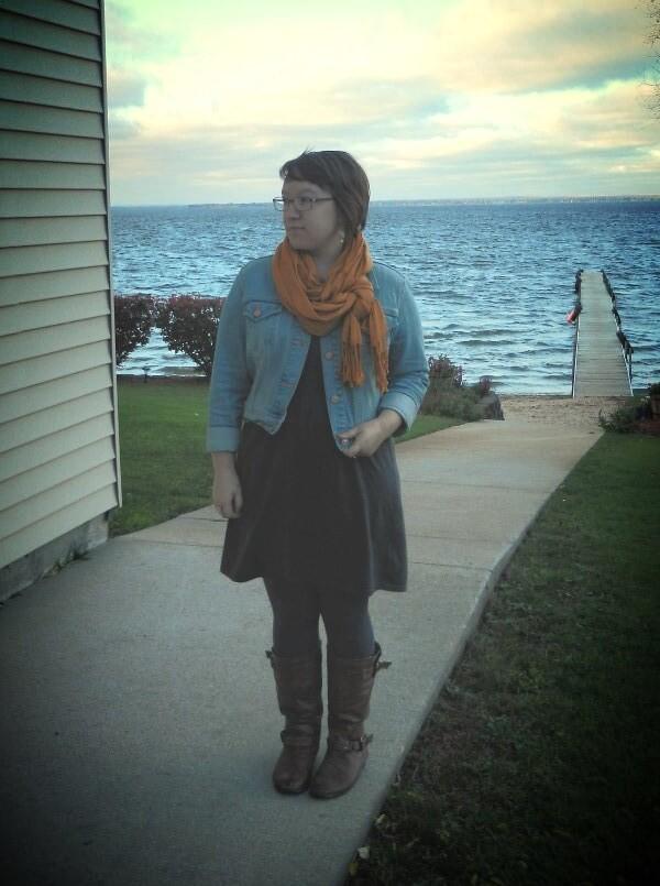 denim jacket, mustard scarf, grey sweater dress, brown boots