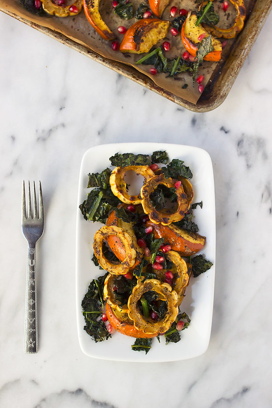 Za'atar Roasted Squash with Crispy Kale and Pomegranate