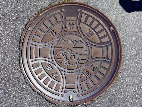 Shiojiri Nagano, manhole cover 3 (長野県塩尻市東山地区のマンホール)