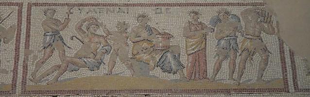 Detail of the Dionysus Mosaic depicting scenes from the life of Dionysus; the wedding of Dionysus with Ariadne,  Sepphoris, Israel