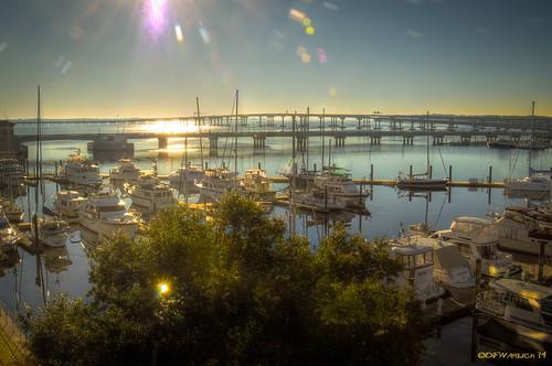bridge sky sun marina sunrise nikon unitedstates bridges northcarolina sailboats bots hdr lightroom pleasurecraft newbern photomatix