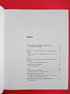 Adelphiana, AAVV. Concezione grafica di Matteo Codignola e Roberto Abbiati; impaginazione di Matteo Spagnolo; fotografie di Luca Campigotto. Indice, a pag. 7 (part.), 1