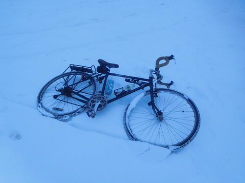 自転車と雪って調和するんだな