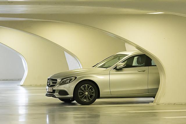 Mercedes in a parking garage
