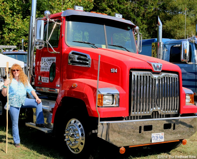 47 big red rig truck sherry the redhead riter with walking stick Field Day Of The Past Rockville Virginia