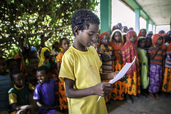 Kadir Rova, 11, reads her poetry at Beseka ABE Center in in Fantale Woreda of Oromia State
