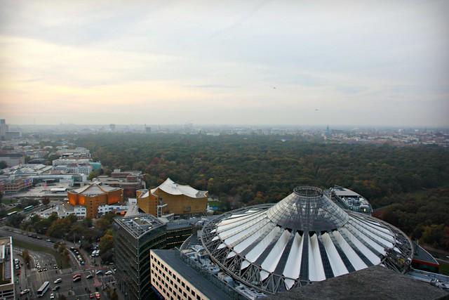 View West from Panoramapunkt: Sony Center & Tiergarten