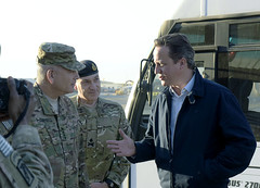 ISAF Commander welcomes UK Prime Minister Cameron to Kabul