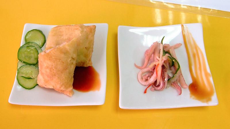 089-伊瑪斯餐廳老闆額外送的試吃品-蝦卷和魷魚腳-2