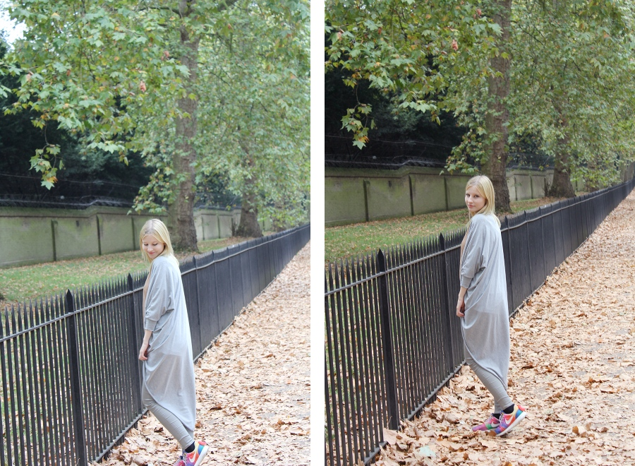 london-outfit-autumn-grey-casual-nike-extra-long-cardigan