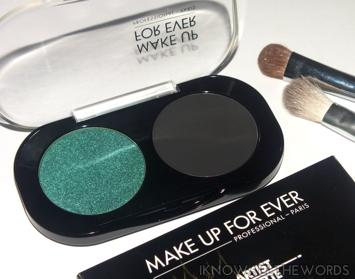 make up for ever artist shadow - emerald and black  (4)