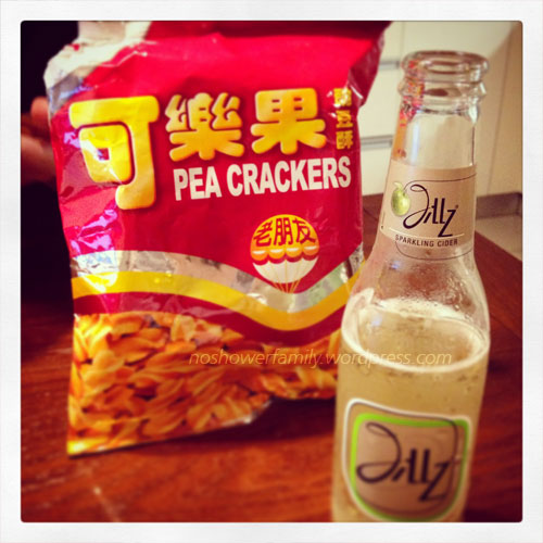 apple beer and pea crackers