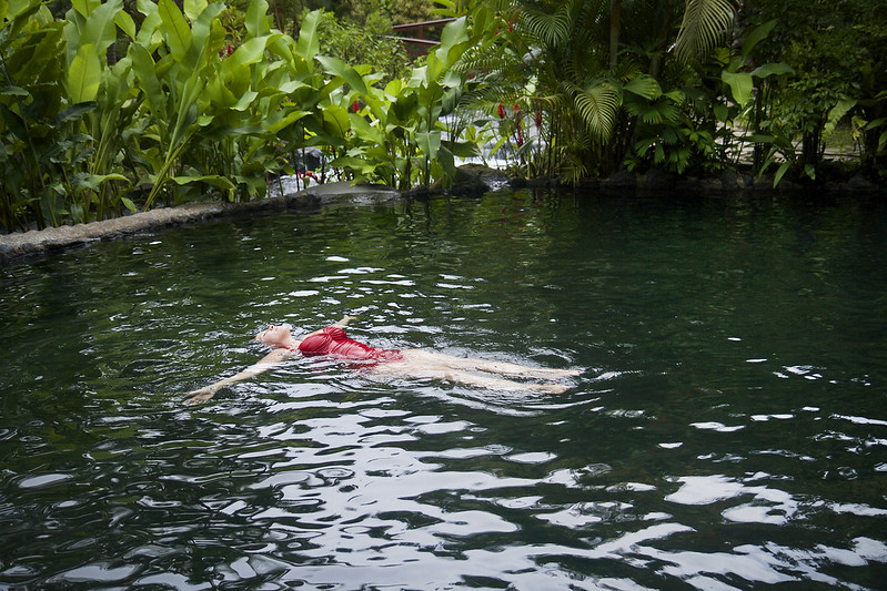 Floating in Costa Rican hot springs