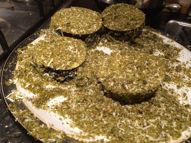 Herb crusted rack of lamb : Crust the aubergine
