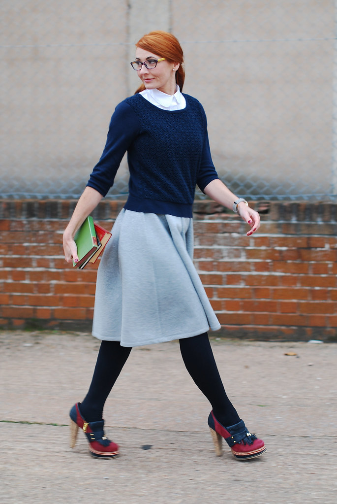 Preppy style with navy and grey