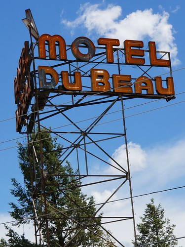 Motel Du Beau sign (Du Beau Hostel), Flagstaff, Arizona