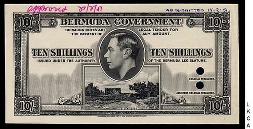 1947 Bermuda 10 Shillings Essay