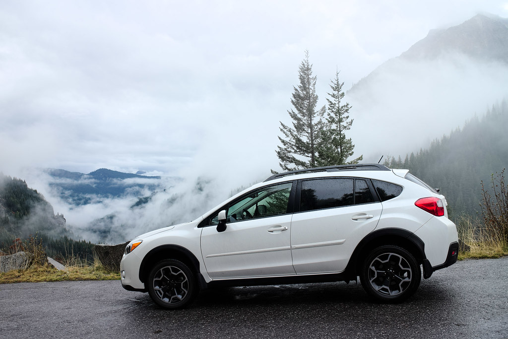 My white 2013 Subaru XV Crosstrek Limited in Mount Rainier National Park