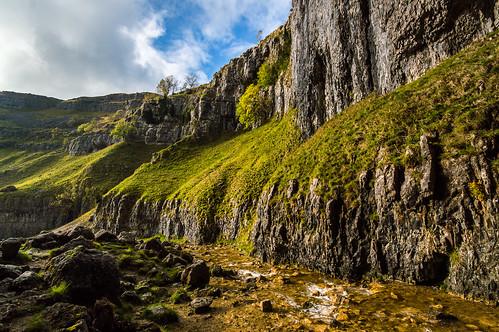 tree grass clouds river rocks yorkshire hill scenary scar dales malham goredale