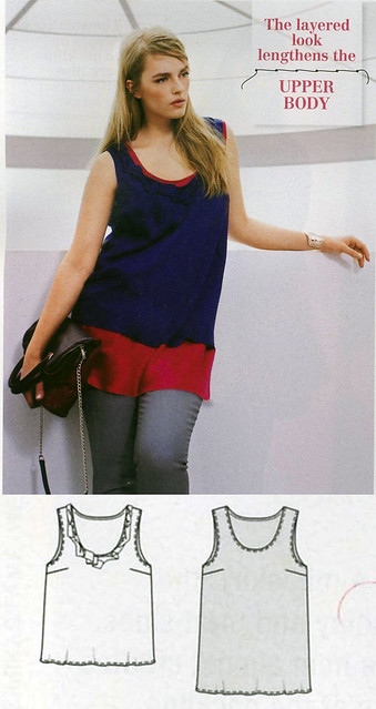 Burda-2014-October Plus Size Double Tank Tops