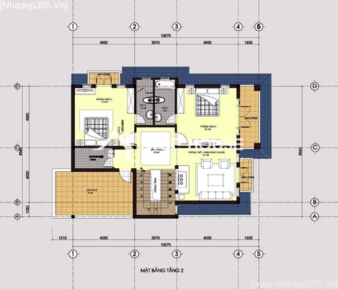 Mặt bằng tầng 2 - biệt thự 2 tầng