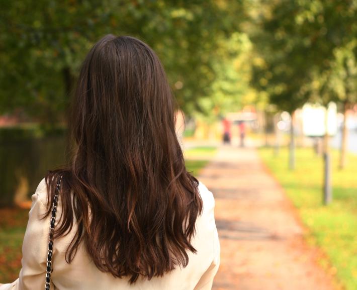silk blouse long hair