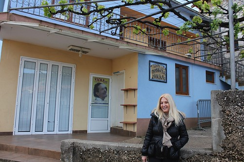 Vassula in front of Vicka's house