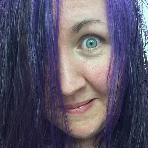 ALL MY HAIRS ARE PURPLE. Despite my face, I'm pretty sure I love it. :-) My hair is still wet, and it's 11:22pm here, so I'll take a better photo in the morning.