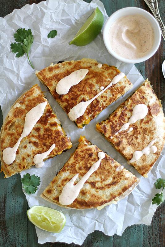 Black Bean Butternut Squash Quesadillas with Chipotle Lime Crema   girlversusdough.com @stephmwise