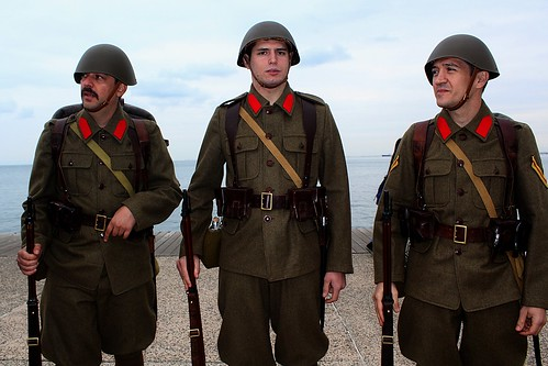 Greek soldiers in 1940's uniforms on parade - 28th October 2014