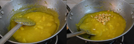 cooking pineapple kesari