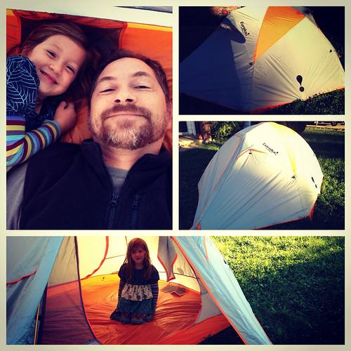 Testing out the new family tent, a Eureka Taron 3.