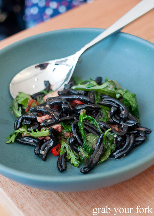 Squid ink strozzapreti, octopus and chrysanthemum at ACME, Rushcutters Bay