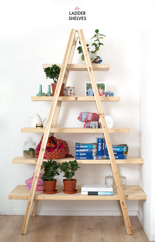 diy ladder shelves a pair a spare bloglovin. Black Bedroom Furniture Sets. Home Design Ideas
