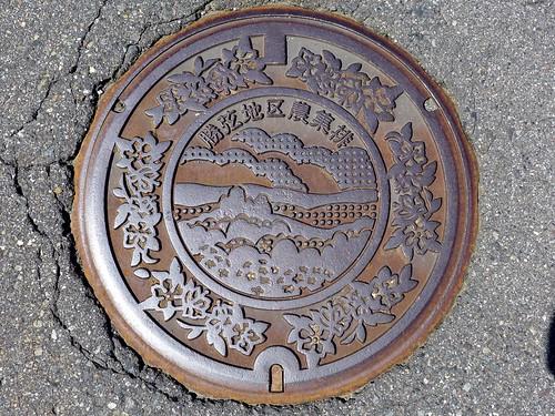 Shiojiri Nagano, manhole cover 2 (長野県塩尻市勝弦地区のマンホール)