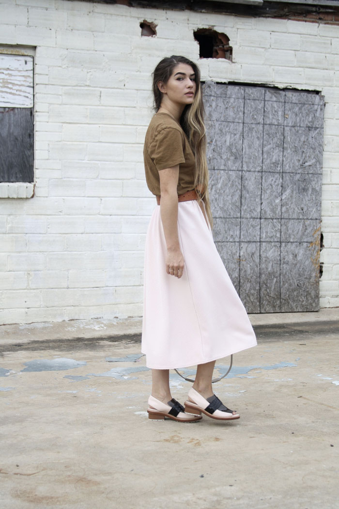 Fringe of the Cro | Brown belted Miss guided pink midi skirt paired with phillip lim loafers