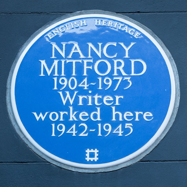 Nancy Mitford blue plaque - Nancy Mitford 1904-1973 writer worked here 1942-1945