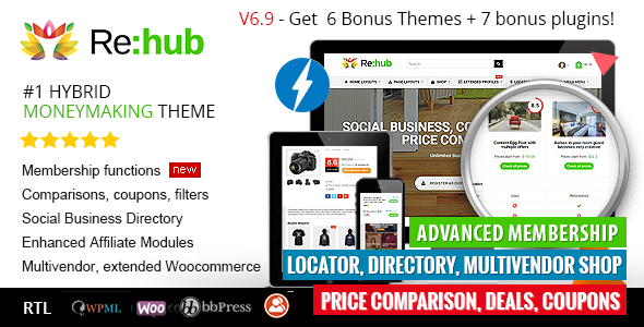 Rehub v7.0.5 – Price Comparison, Business Community, Multi Vendor, Directory Theme