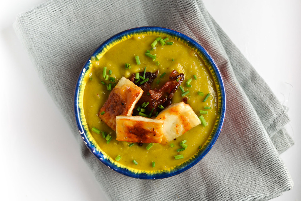 Curried Split Pea Soup with Fried Paneer and Bacon | Things I Made Today