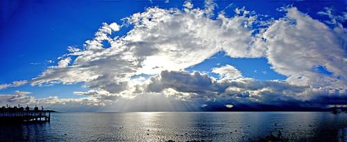 panorama lumière lac ciel nuages morges quais