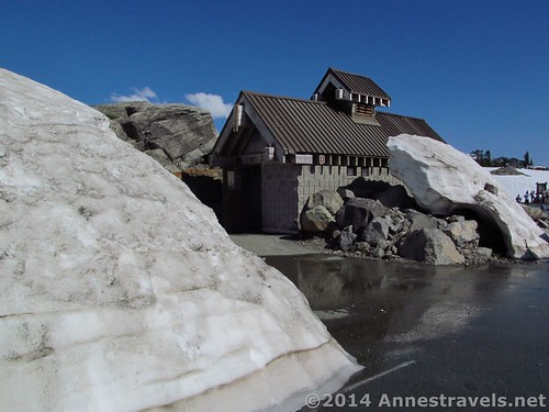 Snow around the restroom at Artist Point, Mount Baker-Snoqualmie National Forest, Washington