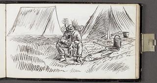 Man sitting in front of two tents / Un homme assis devant deux tentes