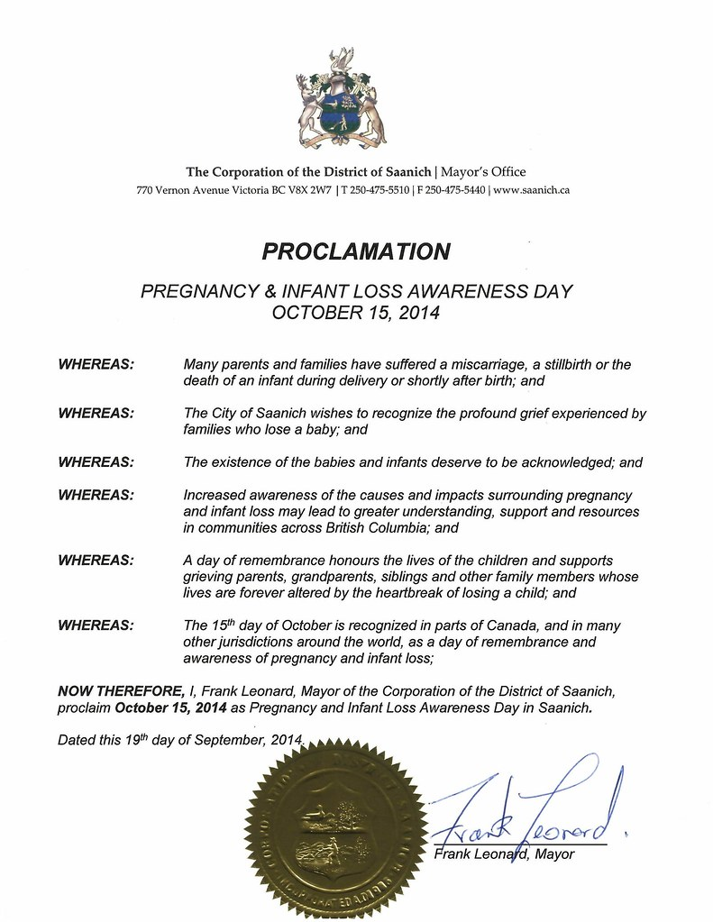 Canadian Proclamations of October 15 - Pregnancy and Infant Loss ...