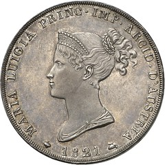 522a ITALY. Marie-Louise of Austria. 5 lire 1821